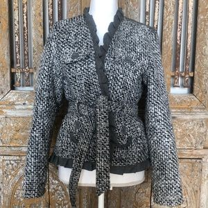 OLEG CASSINI Gray Ruffled Belted Blazer Jacket XL